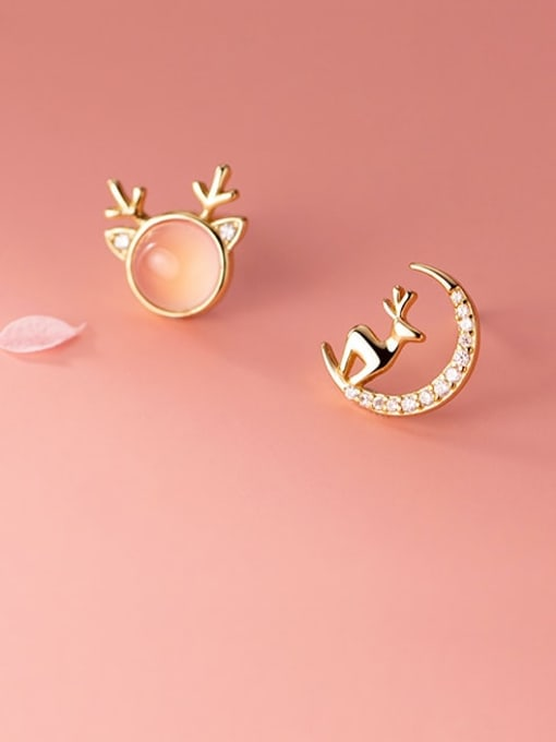 Rosh 925 Sterling Silver Cats Eye Cute  Asymmetry Deer  Stud Earring 0