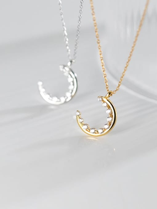 Rosh 925 Sterling Silver Cubic Zirconia Moon Minimalist Necklace