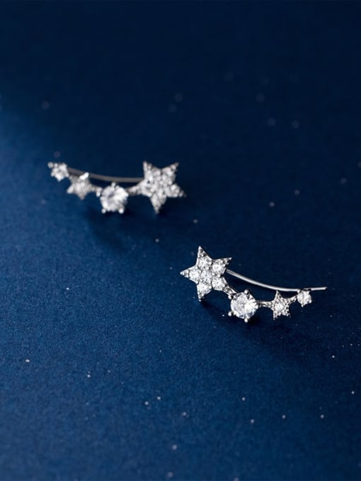 silver 925 Sterling Silver Cubic Zirconia Star Cute Stud Earring