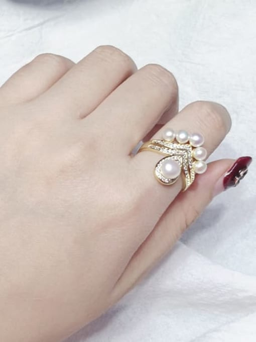 RAIN Brass Freshwater Pearl Flower Vintage Band Ring 1