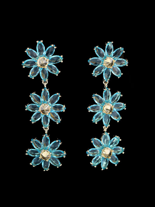 Luxu Brass Cubic Zirconia Flower Dainty Drop Earring