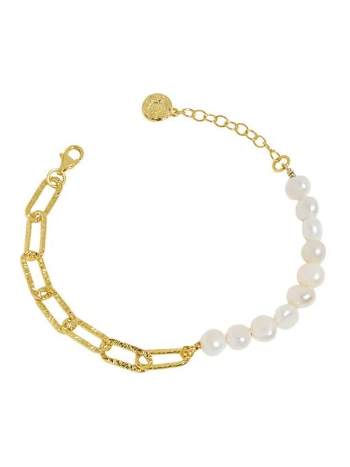 18K Gold 925 Sterling Silver Freshwater Pearl Geometric Vintage Link Bracelet