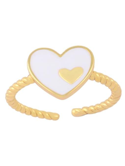 CC Brass Enamel Heart Minimalist Band Ring 3