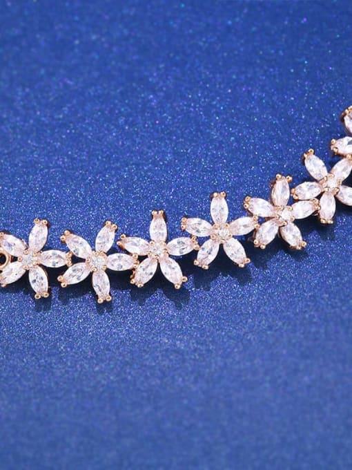 CC Brass Cubic Zirconia Flower Dainty Adjustable Bracelet 1