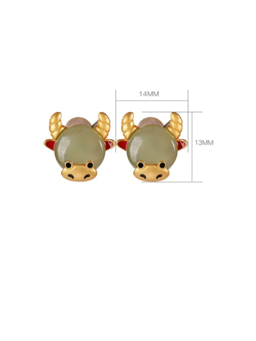 DEER 925 Sterling Silver Jade Zodiac Cute Stud Earring 3