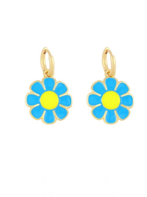 Light blue Brass Enamel Flower Minimalist Huggie Earring