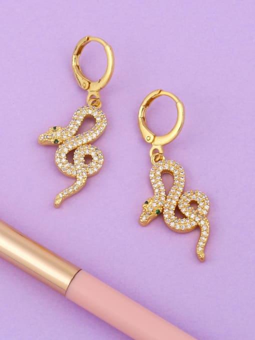 CC Brass Cubic Zirconia Snake Vintage Drop Earring
