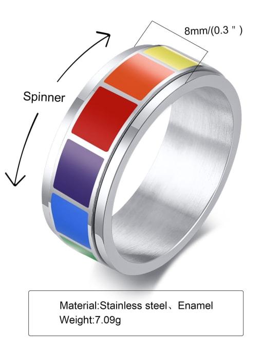 CONG Titanium Steel Enamel Round Minimalist Band Ring 2