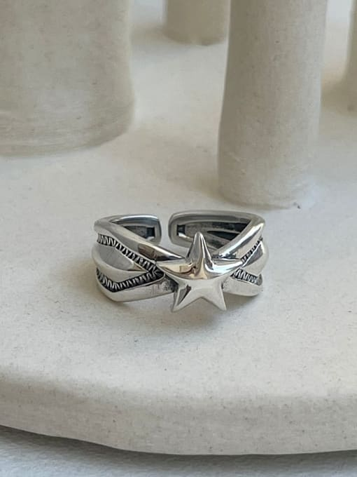 Boomer Cat 925 Sterling Silver Star Vintage Band Ring 0