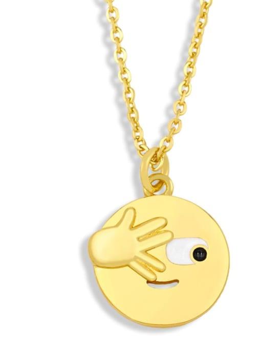 nku95 B Brass Enamel Geometric Hip Hop Necklace
