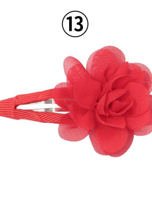 13 red Alloy Yarn Minimalist Flower  Multi Color Hair Barrette