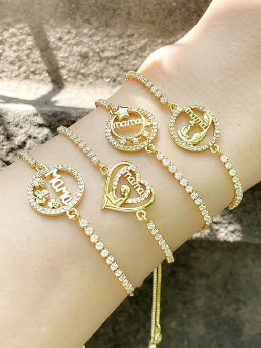 CC Brass Cubic Zirconia Heart Vintage Link Bracelet 1