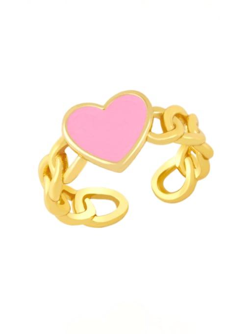 CC Brass Enamel Heart Vintage Band Ring 4