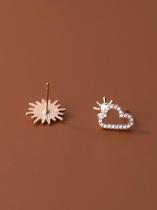 Rosh 925 Sterling Silver Cubic Zirconia Enamel Asymmetry Cloud Minimalist Stud Earring 2