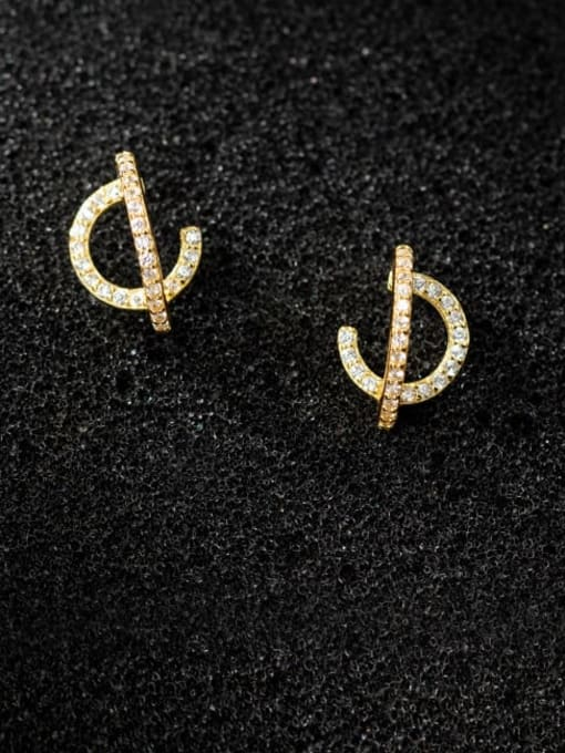 Rosh 925 Sterling Silver Cubic Zirconia Geometric Vintage Stud Earring 0