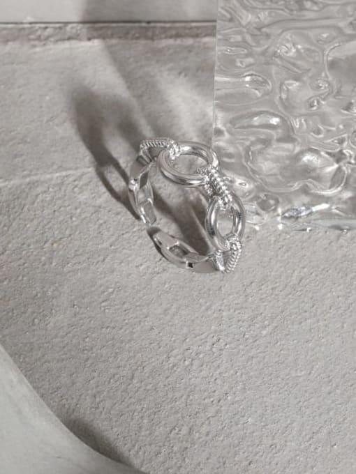 DAKA 925 Sterling Silver Hollow Geometric Vintage Band Ring 1