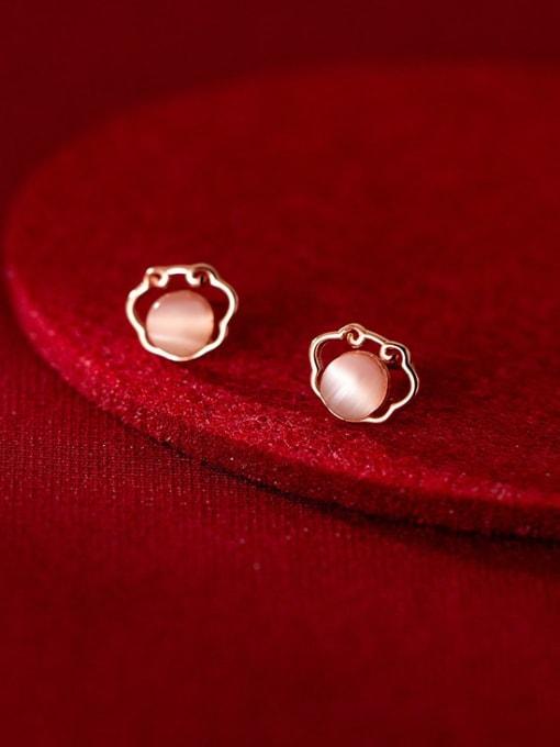Rosh 925 Sterling Silver Cats Eye Geometric Minimalist Stud Earring 0