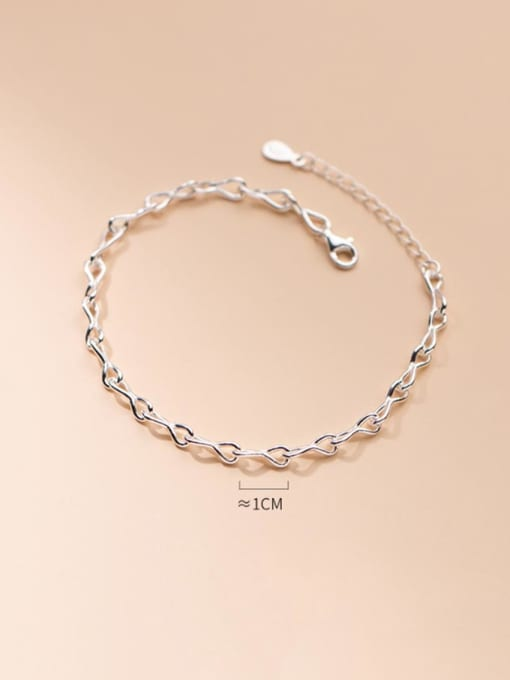 Rosh 925 Sterling Silver Geometric Minimalist Link Bracelet 1