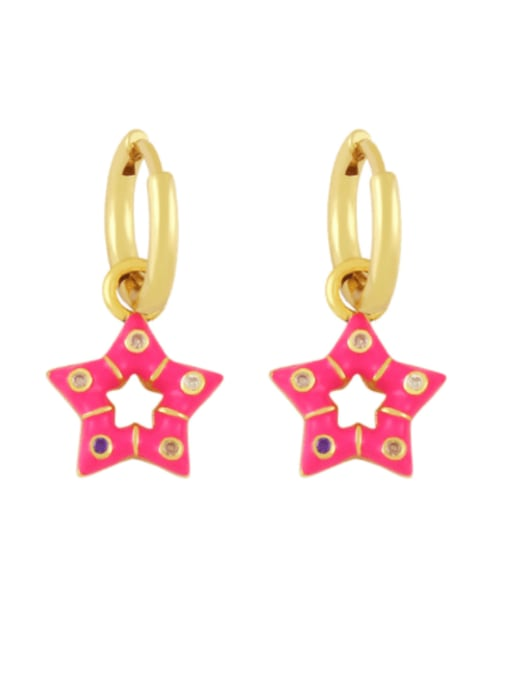 Rose red Brass Multi Color Enamel Star Vintage Huggie Earring