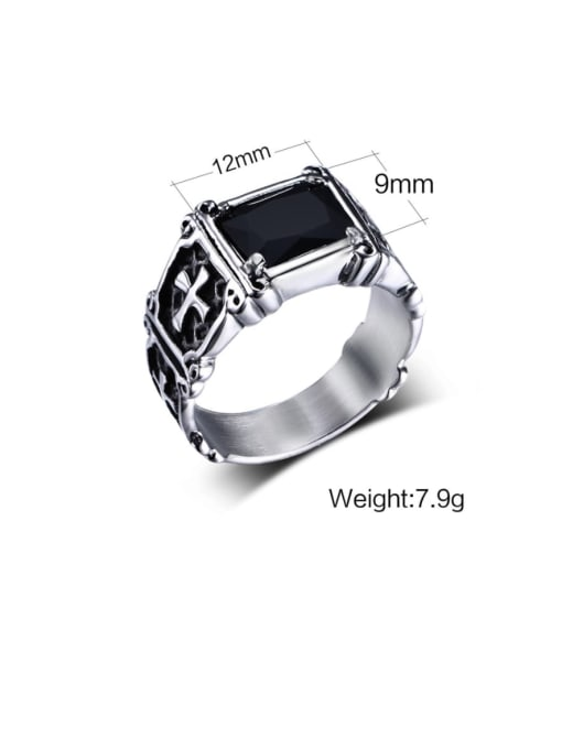 CONG Titanium Steel Glass Stone Geometric Vintage Band Ring 1