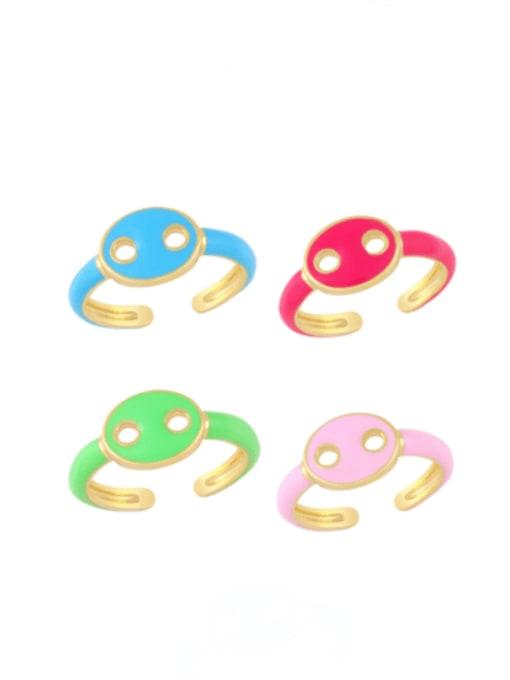 CC Brass Enamel Geometric Minimalist Band Ring