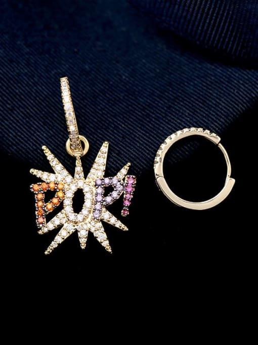 Luxu Brass Cubic Zirconia Letter Ethnic Huggie Earring