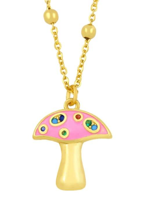 Pink Brass Cubic Zirconia Enamel Mushroom Minimalist Necklace