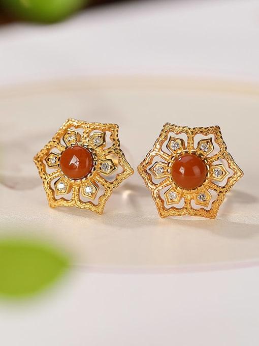 DEER 925 Sterling Silver Carnelian Hexagon Vintage Stud Earring 2