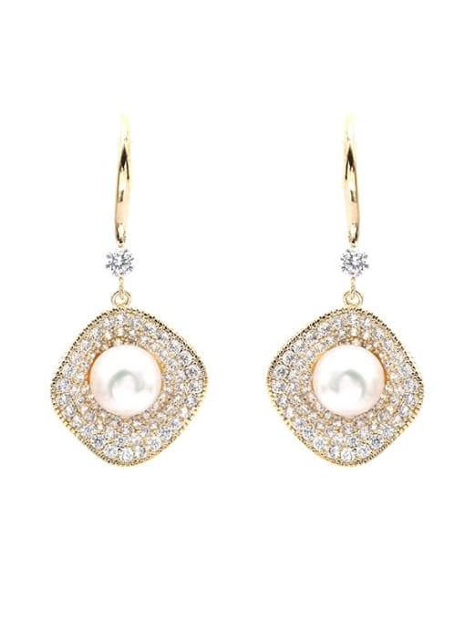 Luxu Brass Cubic Zirconia Geometric Dainty Hook Earring