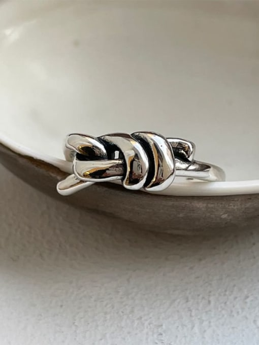 Boomer Cat 925 Sterling Silver Twist knot Vintage Band Ring 1