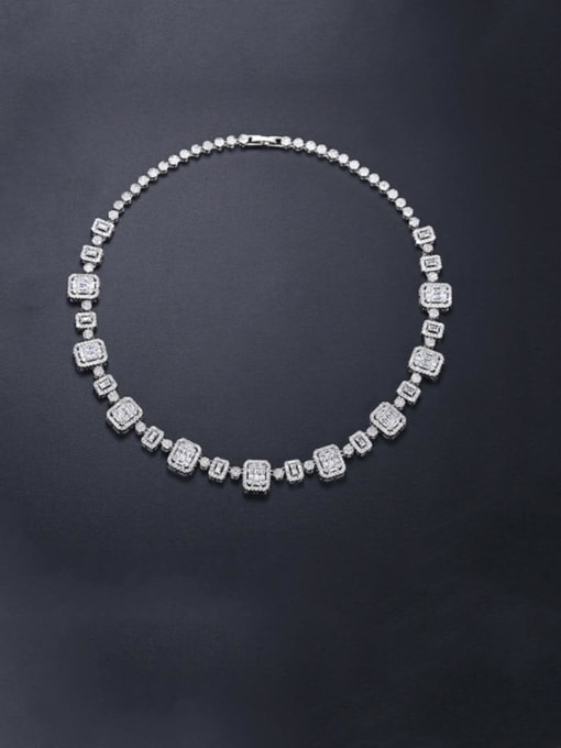 BLING SU Brass Cubic Zirconia Geometric Dainty Necklace 2