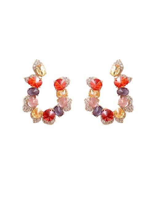 Luxu Brass Cubic Zirconia Flower Luxury Stud Earring 0