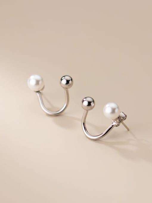 Rosh 925 Sterling Silver Imitation Pearl Irregular Minimalist Stud Earring 3