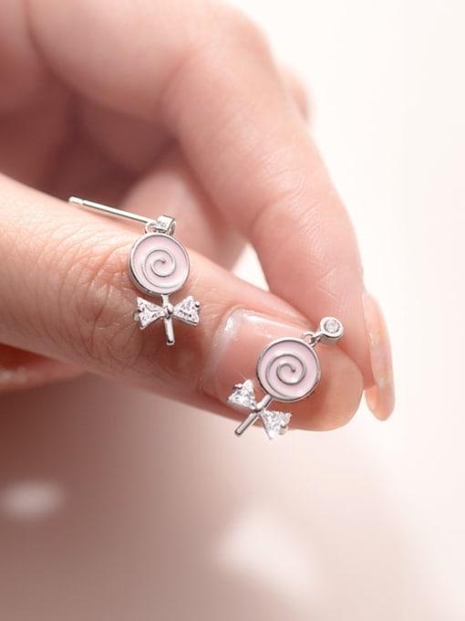 Rosh 925 Sterling Silver Enamel Lollipop bow Trend Stud Earring 1