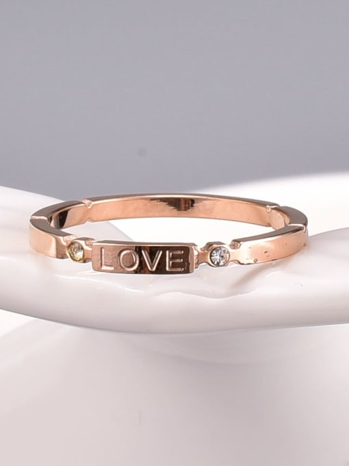 A TEEM Titanium Steel Letter Minimalist Band Ring