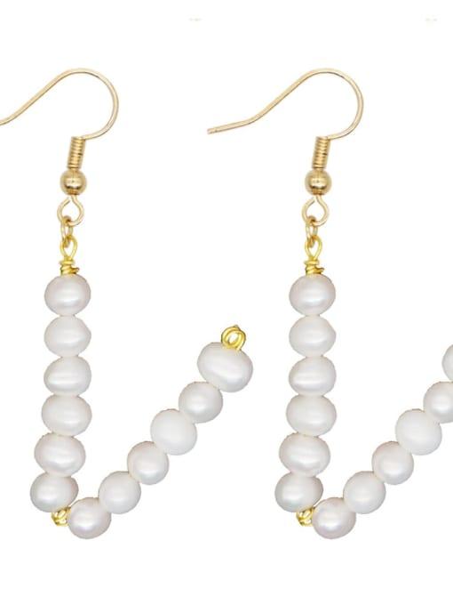 ZZ E200079V Stainless steel Freshwater Pearl Letter Ethnic Drop Earring