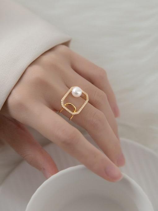 Rosh 925 Sterling Silver Imitation Pearl Geometric Minimalist Band Ring 0
