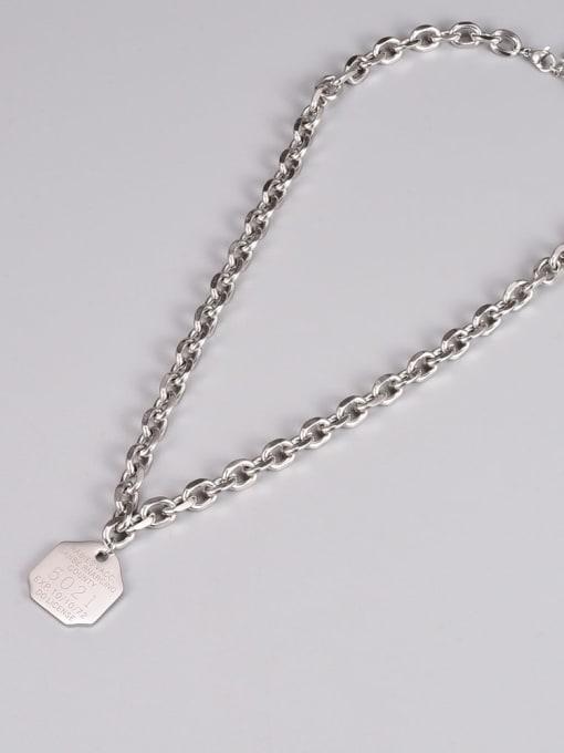 A TEEM Titanium Steel Letter Hip Hop Hollow Chain Necklace 2