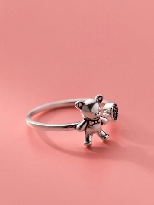 Rosh 925 Sterling Silver Rhinestone Bear Cute Band Ring 2