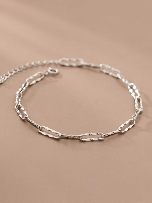 Rosh 925 Sterling Silver Geometric Chain  Minimalist Link Bracelet