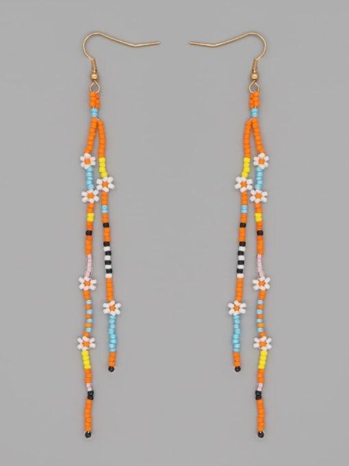 MG E210051A Stainless steel MGB Bead  Multi Color Geometric Bohemia Hook Earring