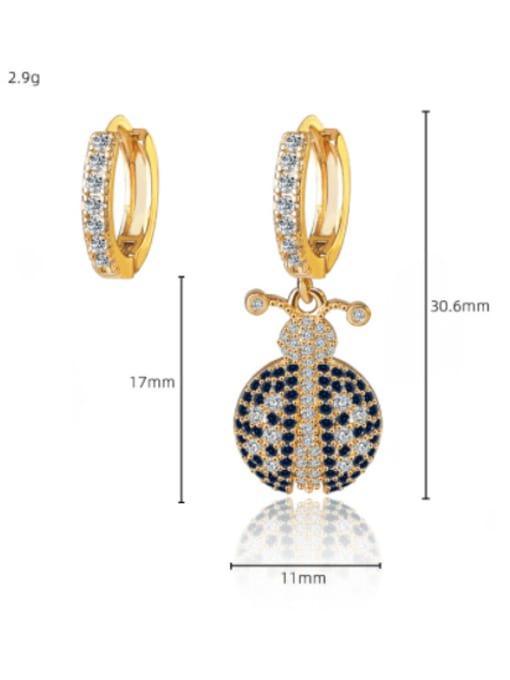 DUDU Brass Cubic Zirconia Bug Vintage Huggie Earring 2