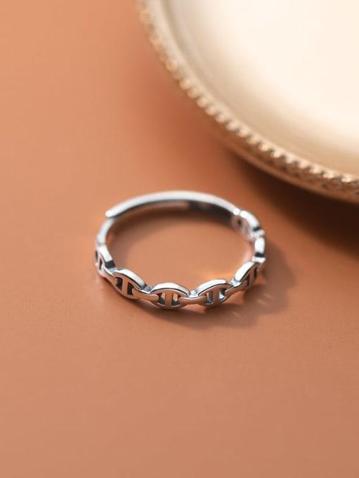 Rosh 925 Sterling Silver Rhinestone Geometric Vintage Band Ring 0