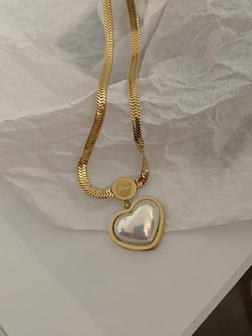 A TEEM Titanium Steel Shell Heart Vintage Necklace 0