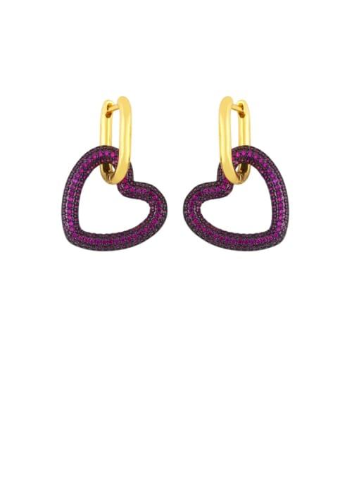 Rose red Brass Cubic Zirconia Heart Vintage Huggie Earring