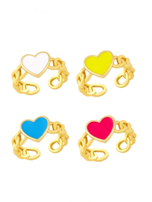 CC Brass Enamel Heart Vintage Band Ring 0