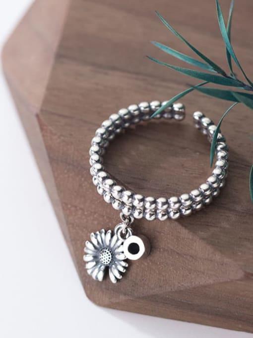 Rosh 925 Sterling Silver Bead Flower Vintage Band Ring 2