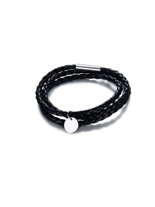 Steel smooth Stainless steel Leather Heart Vintage Strand Bracelet