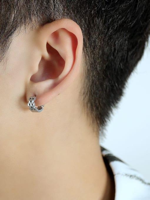 Open Sky Titanium Steel Geometric Hip Hop Huggie Earring 2