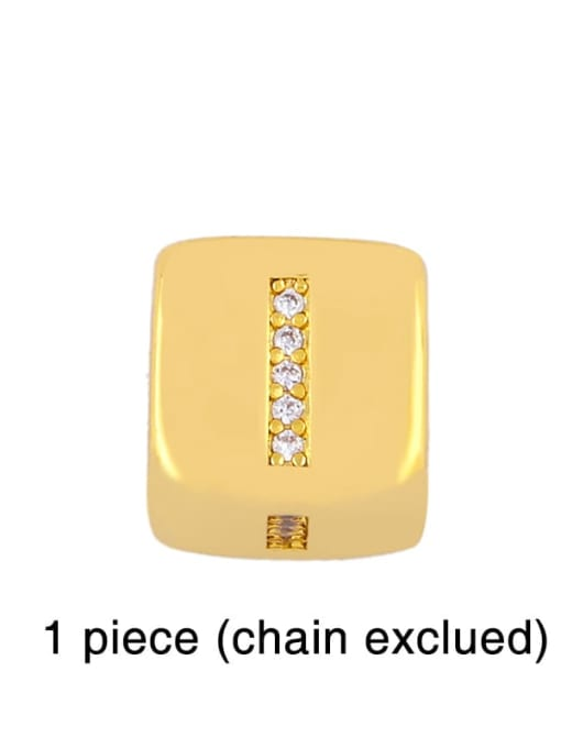 I Brass Cubic Zirconia square Letter Minimalist Adjustable Bracelet